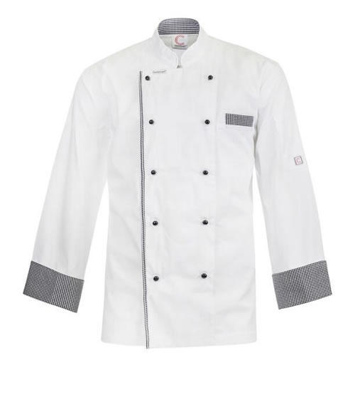 CJ044 Executive Chefs Lightweight Jacket with Checked Collar, Cuff & Pocket Detail - Long Sleeve