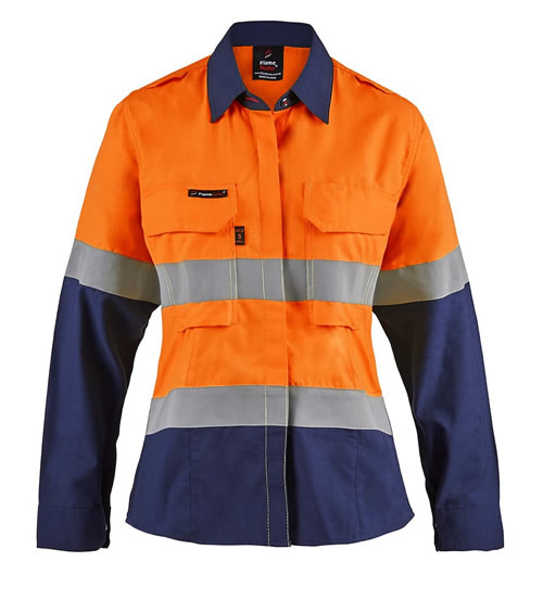 FSL016 Torrent HRC2 Ladies Hi Vis Two Tone Open Front Shirt with Gusset Sleeves and FR