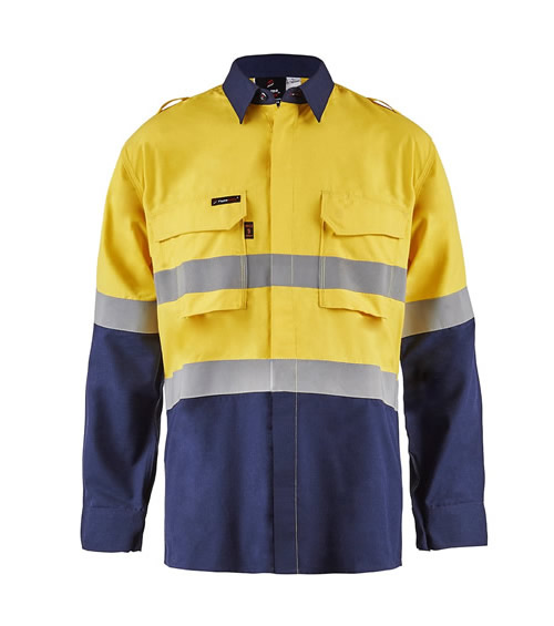 FSV014 Torrent HRC2 Mens Hi Vis Two Tone Open Front Shirt with Gusset Sleeves and FR Reflective Tape