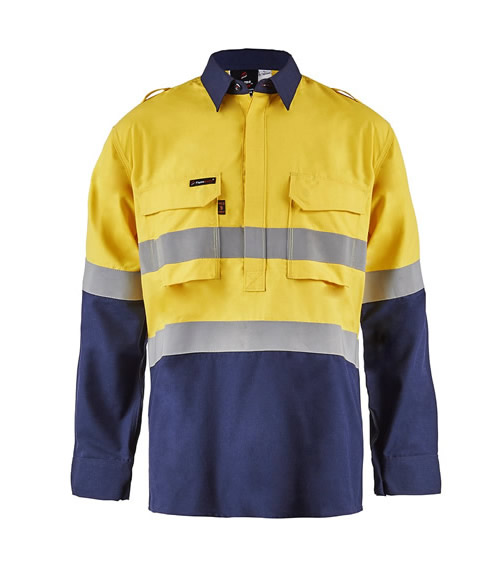 FSV015 Torrent HRC2 Mens Hi Vis Two Tone Close Front Shirt with Gusset Sleeves and FR Reflective Tape
