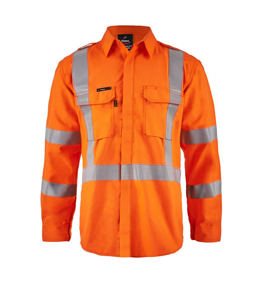 FSV028 Torrent HRC2 Mens Hi Vis Open Front Shirt with Gusset Sleeves with X-pattern FR Reflective