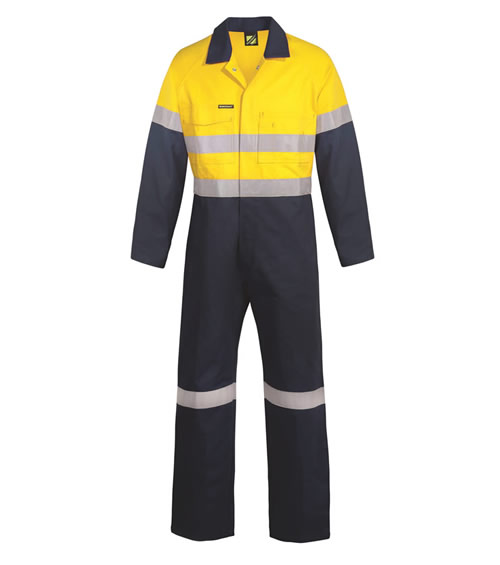 WC6093 Hi Vis Two Tone Cotton Drill Coveralls with CSR Reflective Tape