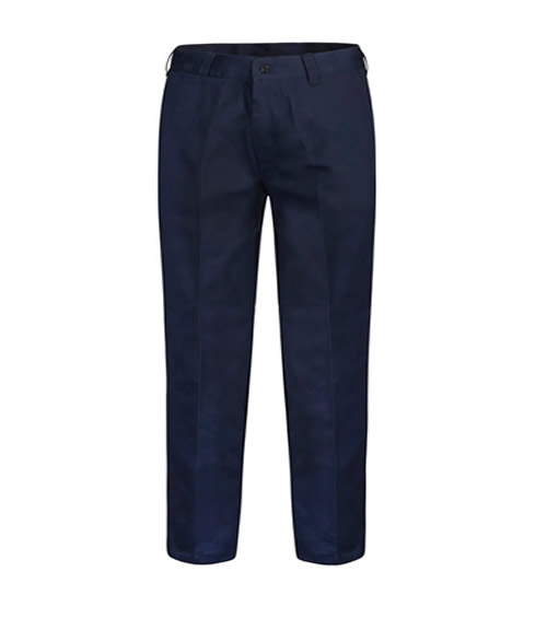 WP3038 Flat Front Cotton Drill Trouser with Back Patch Pockets