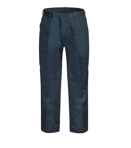 WP3041 Single Pleat Cotton Drill Trouser with Back Patch Pockets