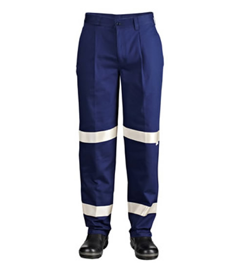 WP3045 Single Pleat Cotton Drill Trouser with 3M 9920 Reflective Tape