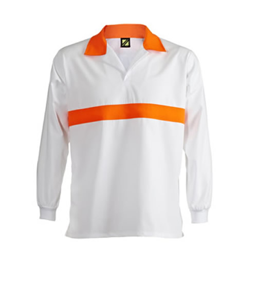 WS3003 Food Industry Jac Shirt with Contrast Chest Band Long Sleeve