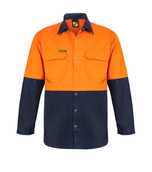 WS3032 Hi Vis Two Tone Long Sleeve Shirt with Press Studs