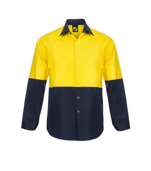 WS3045 Lightweight Hi Vis Two Tone L/S Vented Shirt with Press Studs - No Pockets
