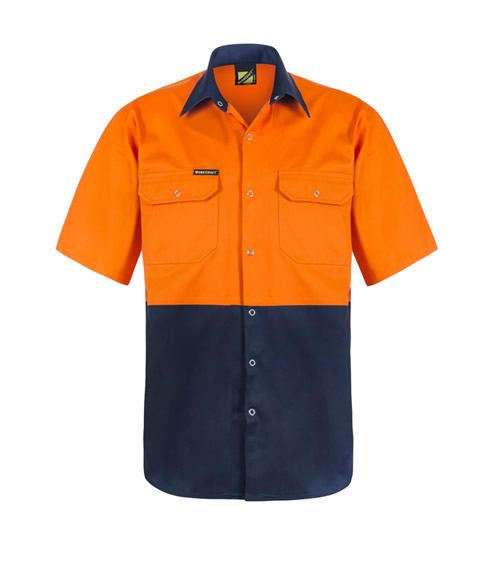 WS3063 Hi Vis Two Tone Short Sleeve Shirt with Press Studs