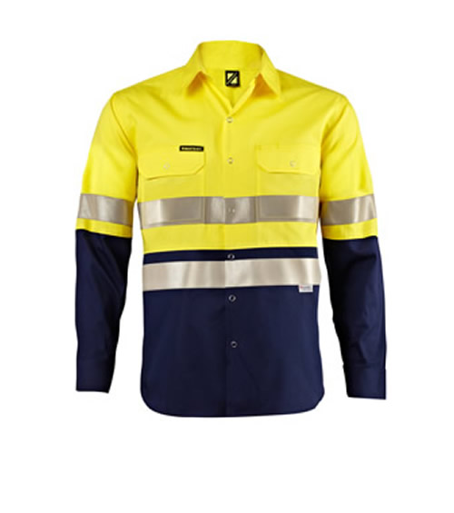 WS3073 Lightweight Hi Vis Two Tone Long Sleeve Shirt with 3M 9920 Reflective Tape & Press Studs