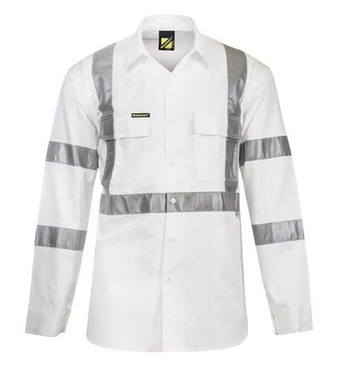 WS3222 Hi Vis Night Only Long Sleeve Shirt with X Pattern 3m Reflective Tape