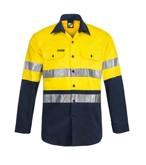 WS4000 Hi Vis Two Tone Long Sleeve Shirt with 3M Reflective Tape