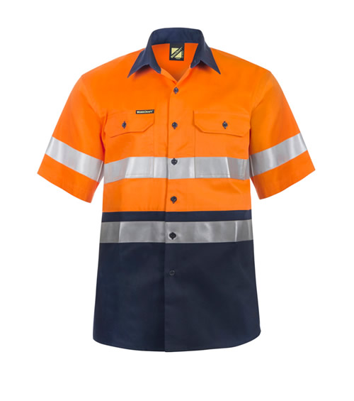 WS4001 Hi Vis Two Tone Short Sleeve Shirt with 3M Reflective Tape