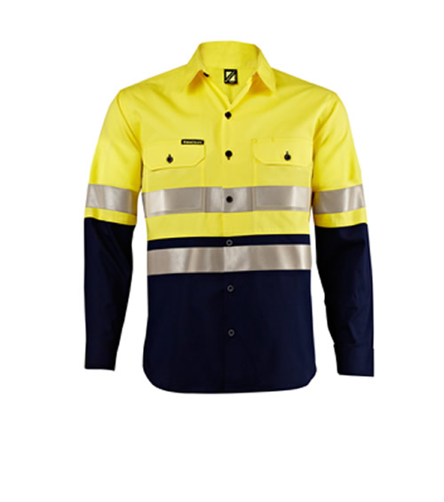 WS4003 Lightweight Hi Vis Two Tone Long Sleeve Shirt with 3M Refective Tape