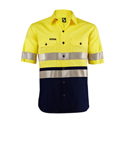 WS4004 Lightweight Hi Vis Two Tone Short Sleeve Shirt with 3M Refective Tape
