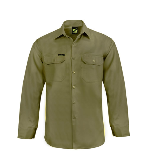 WS4011 Lightweight Long Sleeve Vented Cotton Drill Shirt