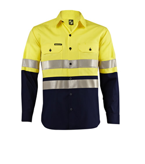 WS4130 Ventilated Lightweight Hi Vis Two Tone Long Sleeve Shirt with 3M Reflective Tape