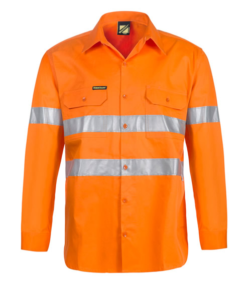 WS4131 Lightweight Hi Vis Vented Long Sleeve Shirt with 3M Reflective Tape