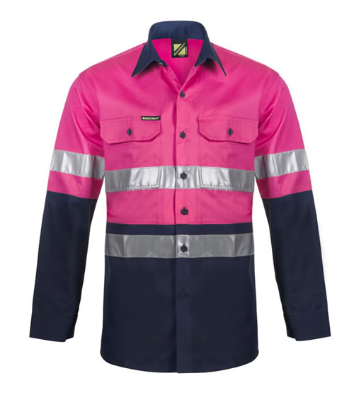 WS4132 Lightweight Hi Vis Two Tone Long Sleeve Vented Shirt with 3M Reflective Tape