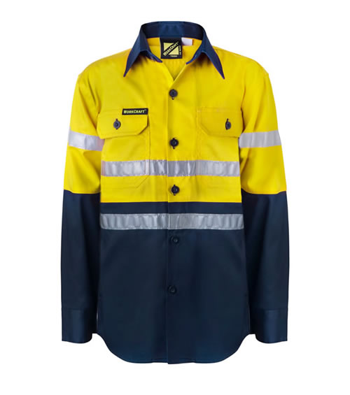 WSK125 Kids Hi Vis Two Tone Long Sleeve Shirt with 3M Reflective Tape