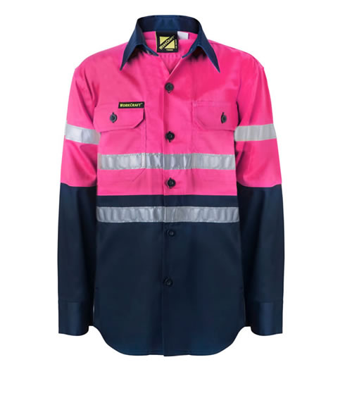 WSK129 Girls Hi Vis Two Tone Long Sleeve Shirt With 3M Reflective Tape