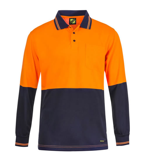 WSP202 Hi Vis Two Tone Long Sleeve Polo with Pocket