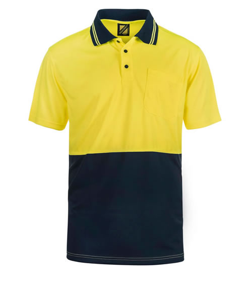 WSP401 Hi Vis Two Tone Short Sleeve Cotton Back Polo with Pocket