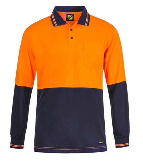 WSP402 Hi Vis Two Tone Long Sleeve Cotton Back Polo with Pocket