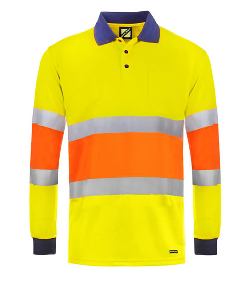 WSP405 Hi Vis Traffic Controller Long Sleeve Micromesh Polo with Pocket and CSR Reflective Tape