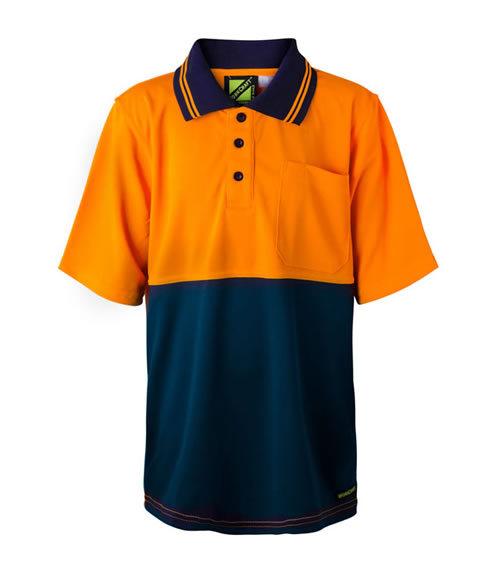 WSPK20 Kids Hi Vis Two Tone Shirt Sleeve Polo With Pocket